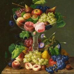 Пазл онлайн: Натюрморт с фруктами и розами