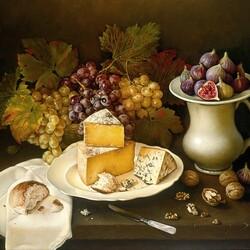 Пазл онлайн: Натюрморт с сыром