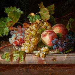 Пазл онлайн: Натюрморт с фруктами и пчелой