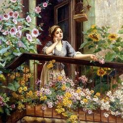 Пазл онлайн: Девушка на цветущем балконе