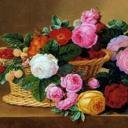 Пазл онлайн: Натюрморт с корзиной цветов