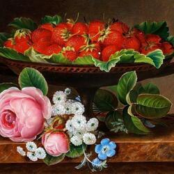 Пазл онлайн: Натюрморт с цветами и клубникой
