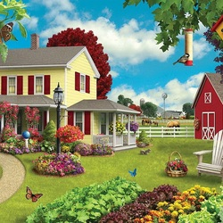 Пазл онлайн: Уютный двор