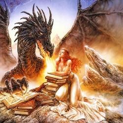 Пазл онлайн: Дракон и девушка