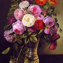Пазл онлайн: Цветы в стеклянной вазе