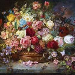 Пазл онлайн: Букет цветов в кашпо