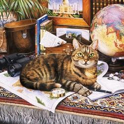 Пазл онлайн: Кот-путешественник