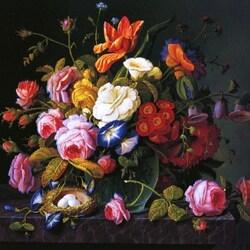 Пазл онлайн: Цветочный натюрморт с гнездом