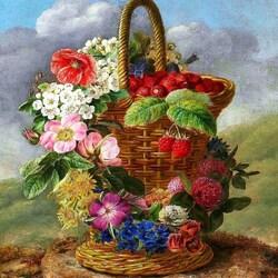 Пазл онлайн: Натюрморт с корзиной цветов на камне