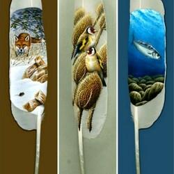 Пазл онлайн: Рисунки на перьях