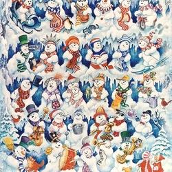 Пазл онлайн: Весёлые снеговики