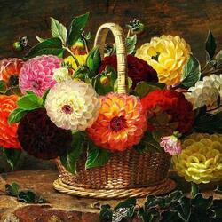 Пазл онлайн: Корзина с цветами