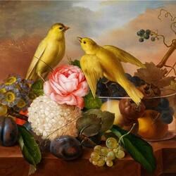 Пазл онлайн: Натюрморт с птичками