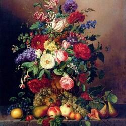 Пазл онлайн: Натюрморт с разными фруктами, ягодами и цветами