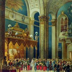 Пазл онлайн: Поздравление, приносимое казачьим войском Александру II в Успенском соборе