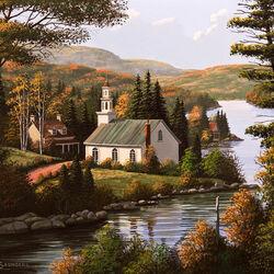 Пазл онлайн: Церковь на берегу озера