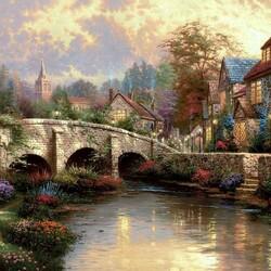 Пазл онлайн: Цветы у реки