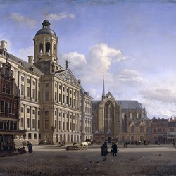 Пазл онлайн: Собор и новая ратуша в Амстердаме