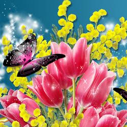 Пазл онлайн: Цветы и бабочки
