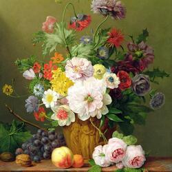 Пазл онлайн: Букет цветов и фрукты