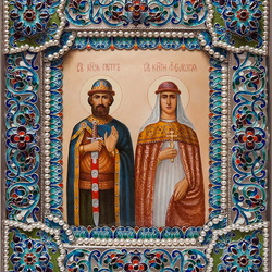 Пазл онлайн: Икона Петра и Февронии Муромских