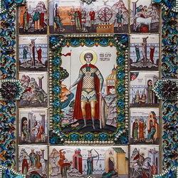 Пазл онлайн: Икона Георгия Победоносца со страстями