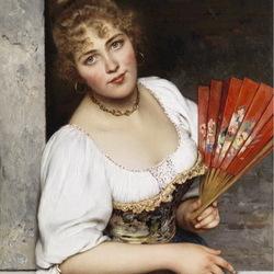 Пазл онлайн: Девушка с красным веером