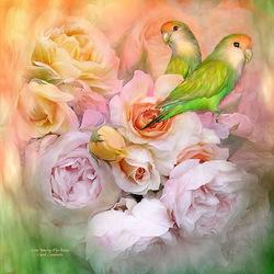 Пазл онлайн: Попугайчики и розы