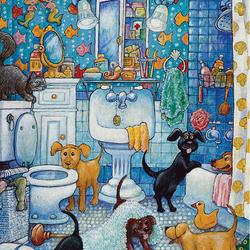 Пазл онлайн: В ванной комнате