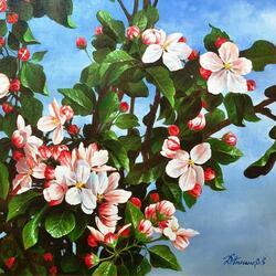 Пазл онлайн: Яблоня в цвету, какое чудо...