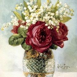 Пазл онлайн: Розы и ландыши