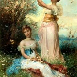 Пазл онлайн: У цветущего дерева