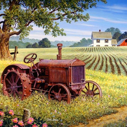 Пазл онлайн: Старый трактор