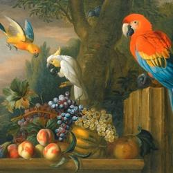 Пазл онлайн: Натюрморт с попугаем