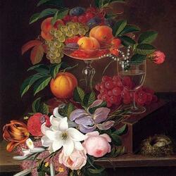 Пазл онлайн: Натюрморт с фруктами и цветами