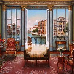 Пазл онлайн: Балкон с видом на Венецию