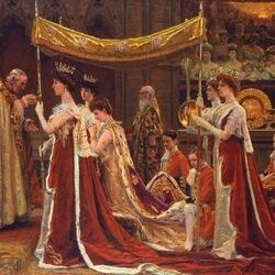 Пазл онлайн: Помазание королевы Александры при коронации Эдуарда VII