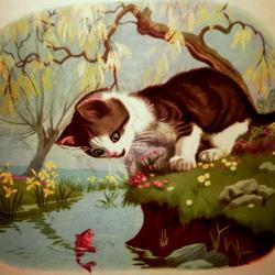Пазл онлайн: Котенок и рыбка