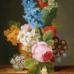 Пазл онлайн: Цветочный натюрморт с бабочкой
