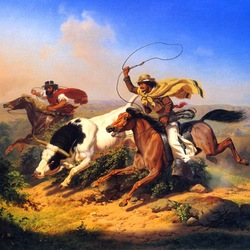 Пазл онлайн: Погоня ковбоев
