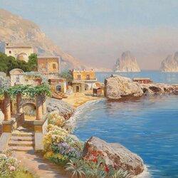 Пазл онлайн: Вид на скалы Faraglioni в Капри