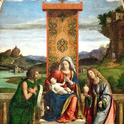 Пазл онлайн: Мадонна с Младенцем со святыми Иоанном Крестителем и Марией Магдалиной