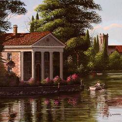 Пазл онлайн: Вилла у озера