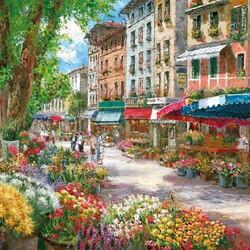 Пазл онлайн: Цветочный базарчик в Париже