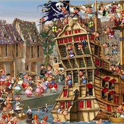 Пазл онлайн: Пираты в гавани