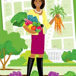 Пазл онлайн: Первая леди с овощами