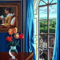 Пазл онлайн: Тюльпаны у окна