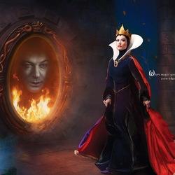 Пазл онлайн: Королева и зеркало
