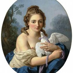 Пазл онлайн: Девушка, держащая голубя