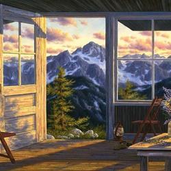 Пазл онлайн: Дверь в мир гор